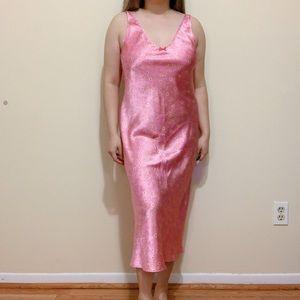 Y2k Pink Daisy Satin Lingerie Slip Dress